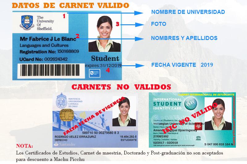 Carnet universitario boleto Machu Picchu