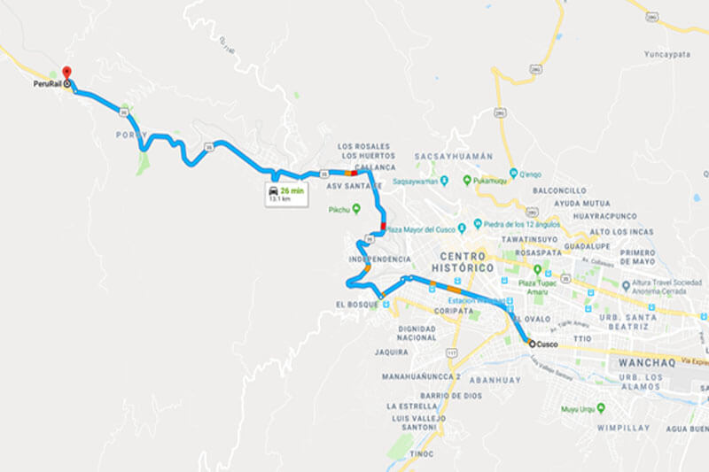 Mapa trem Machu Picchu