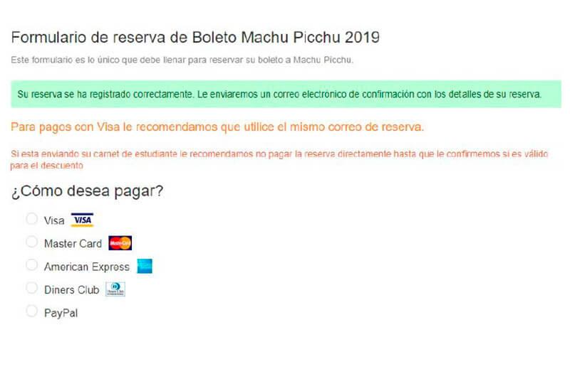 Metodos de Pago Boleto Machu Picchu