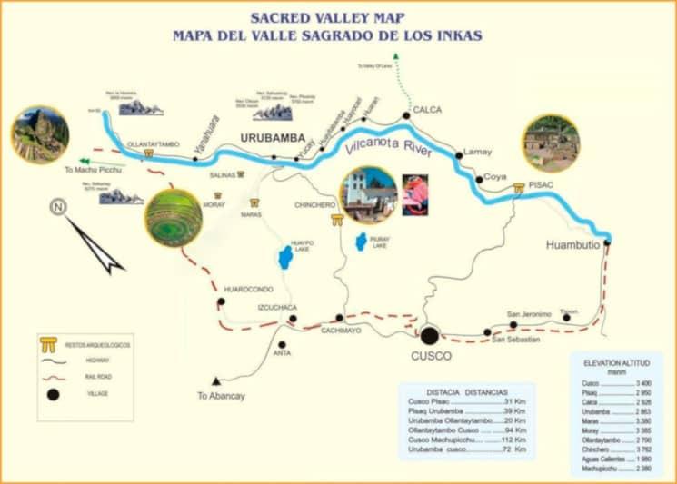 Mapa del Valle Sagrado de los Incas