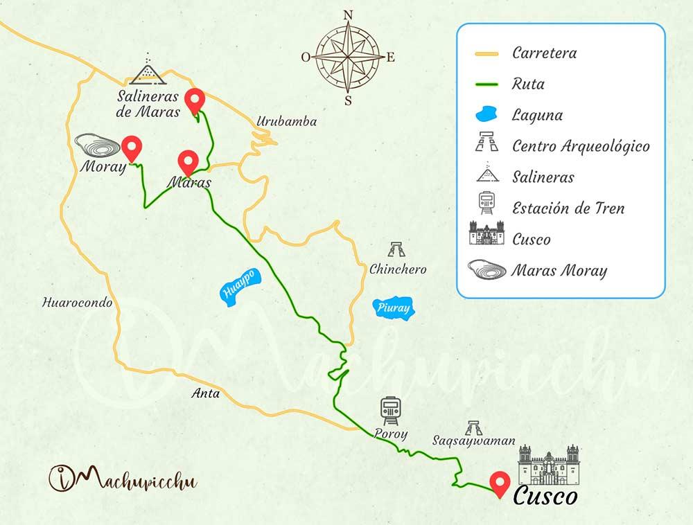 Mapa Tour Moray - Salineras de Maras