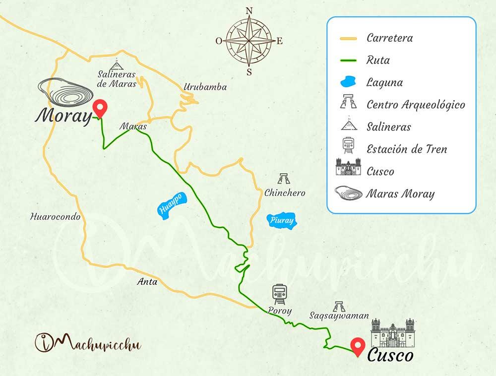 Mapa para llegar a Moray