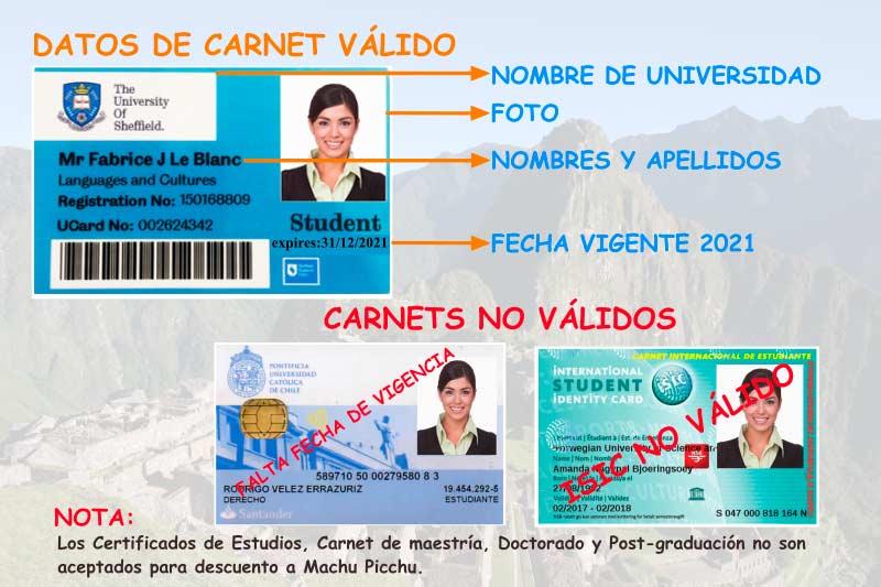 Carnet para reservar el boleto Machu Picchu con descuento para estudiante
