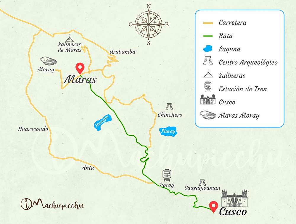 Mapa para llegar al pueblo de Maras