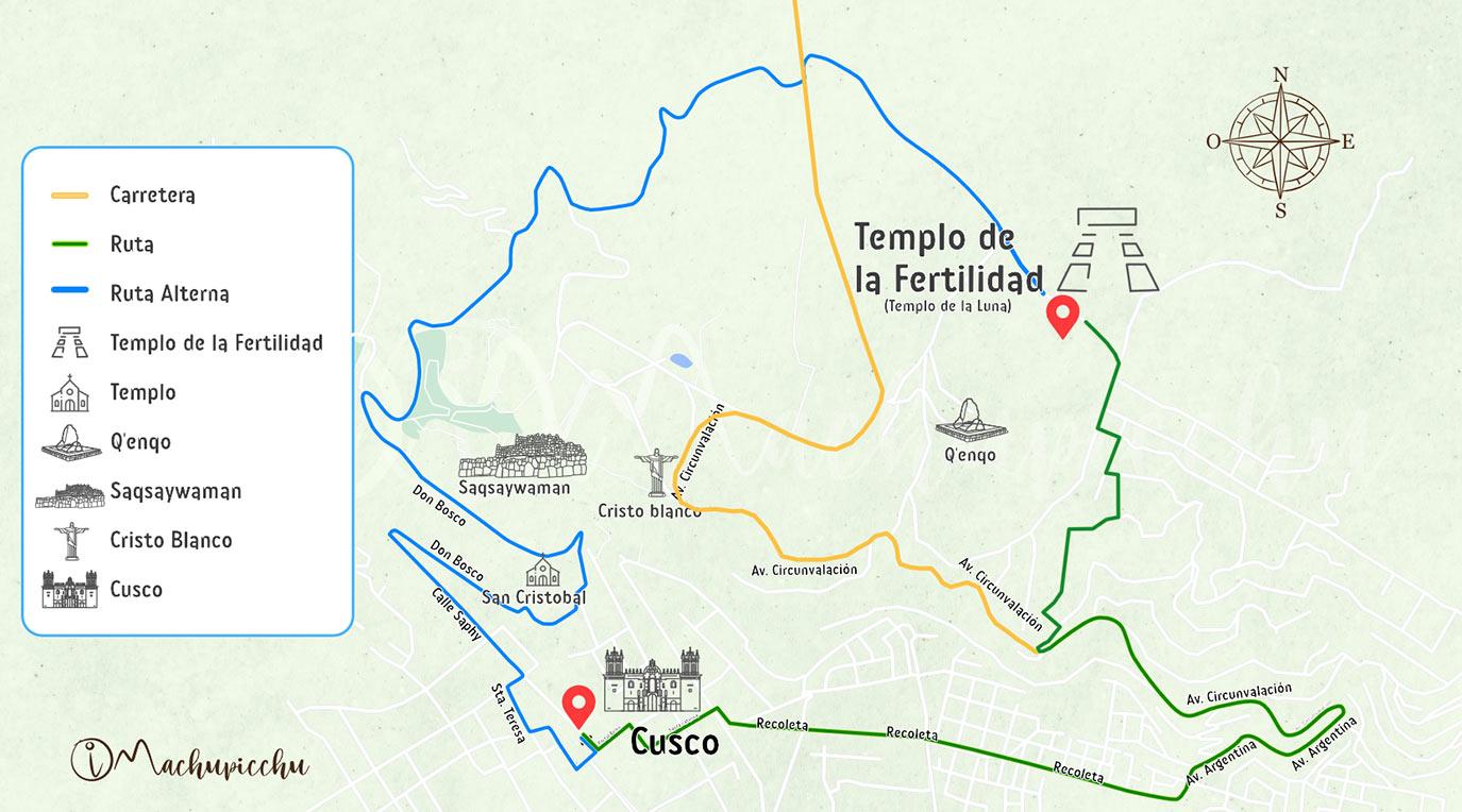 Mapa para llegar a Qenqo