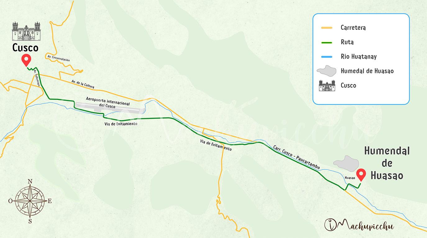 Mapa para llegar a los humedales de Huasao