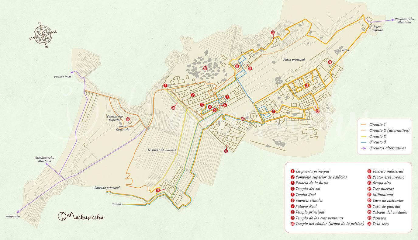 Mapa del recorrido a Machu Picchu