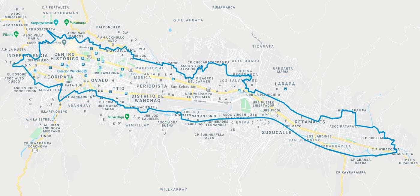 Mapa de los limites del servicio