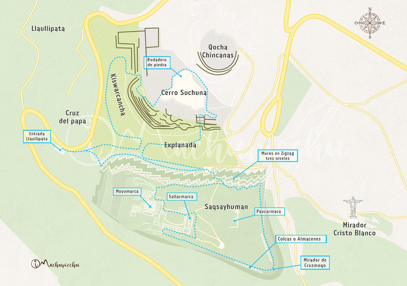 Mapa del recorrido a Sacsayhuamán