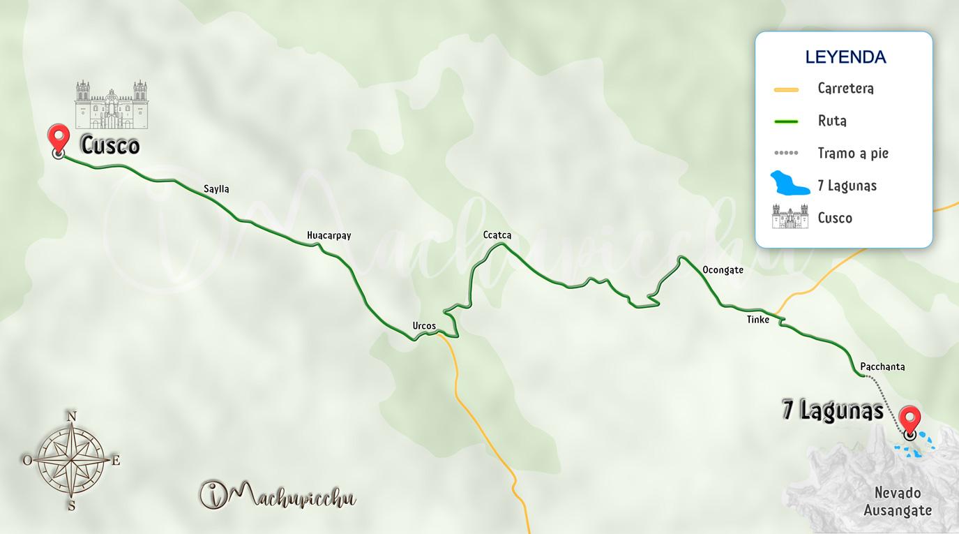 Mapa para llegar a 7 Lagunas