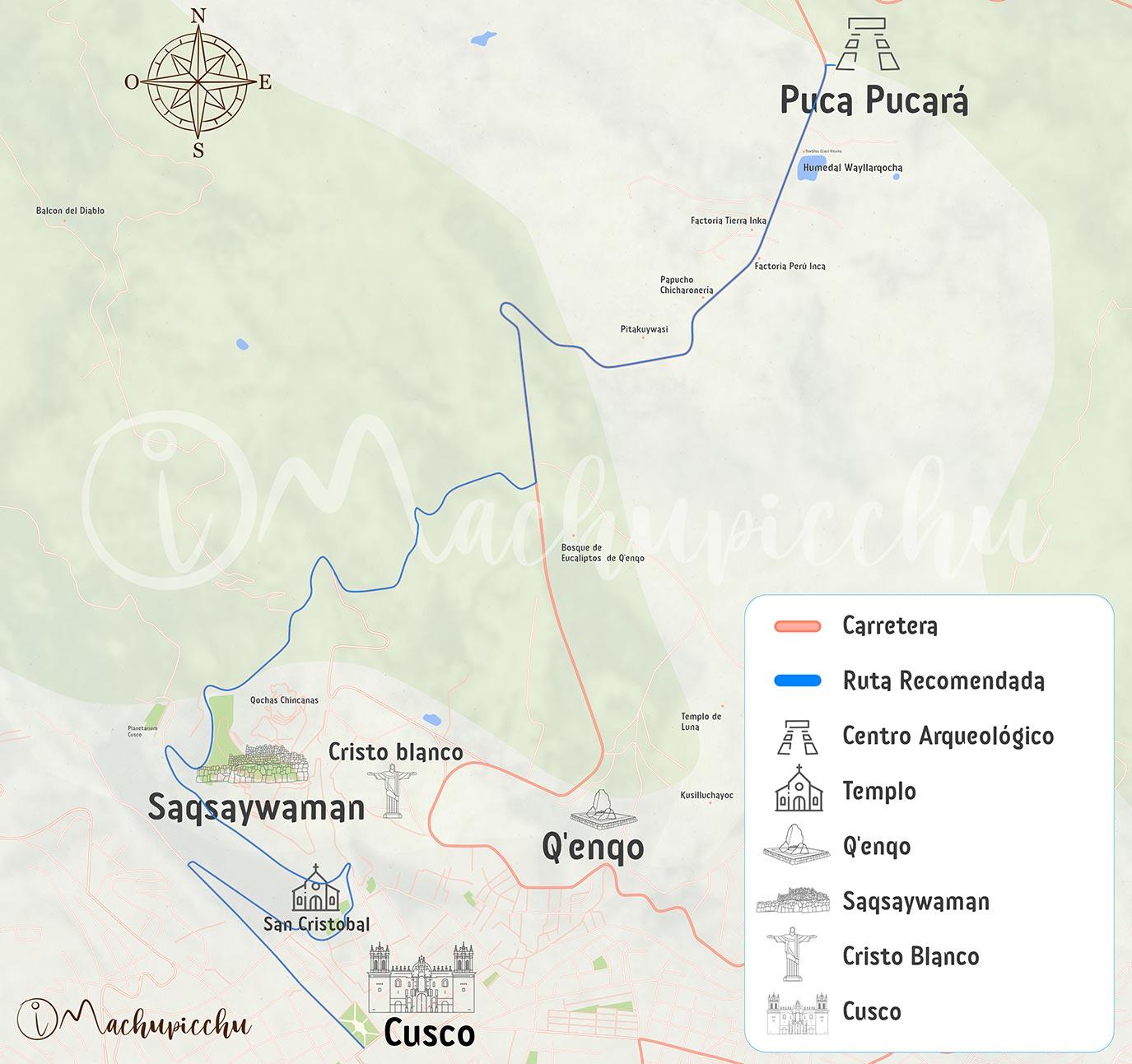 Mapa para llegar a Puca pucara