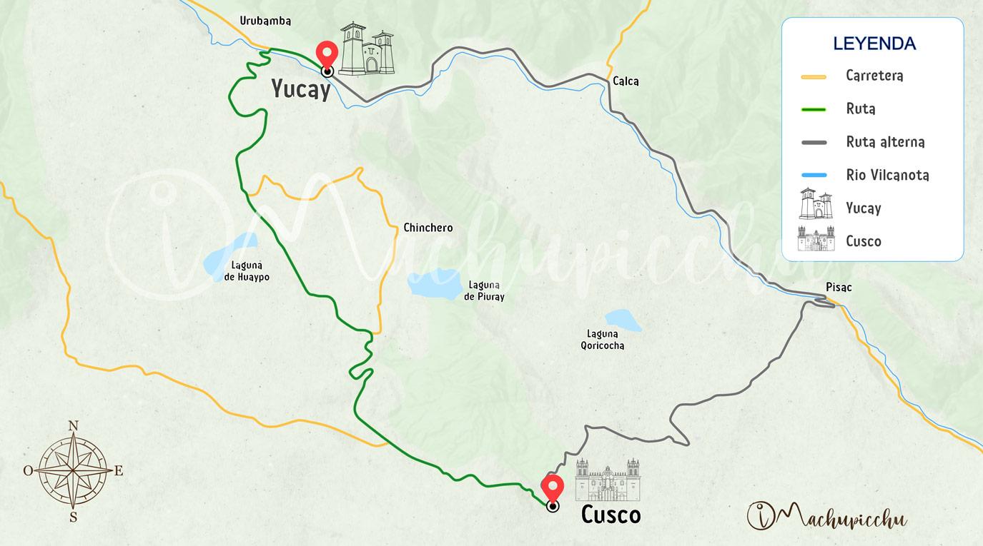 Mapa para llegar a Yucay