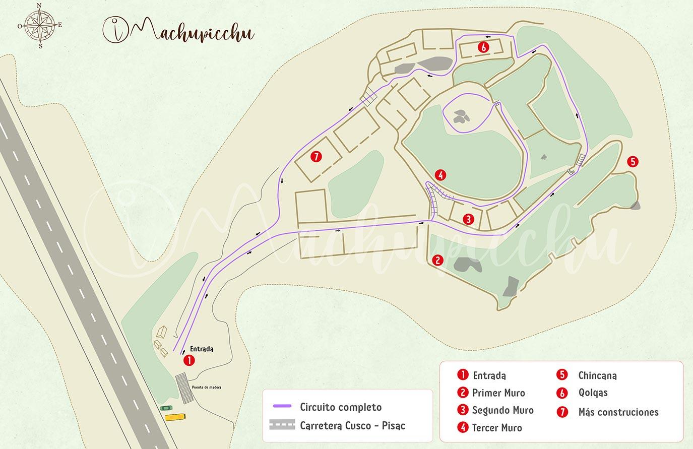 Mapa de recorrido sitio arqueológico de Puca Pucára