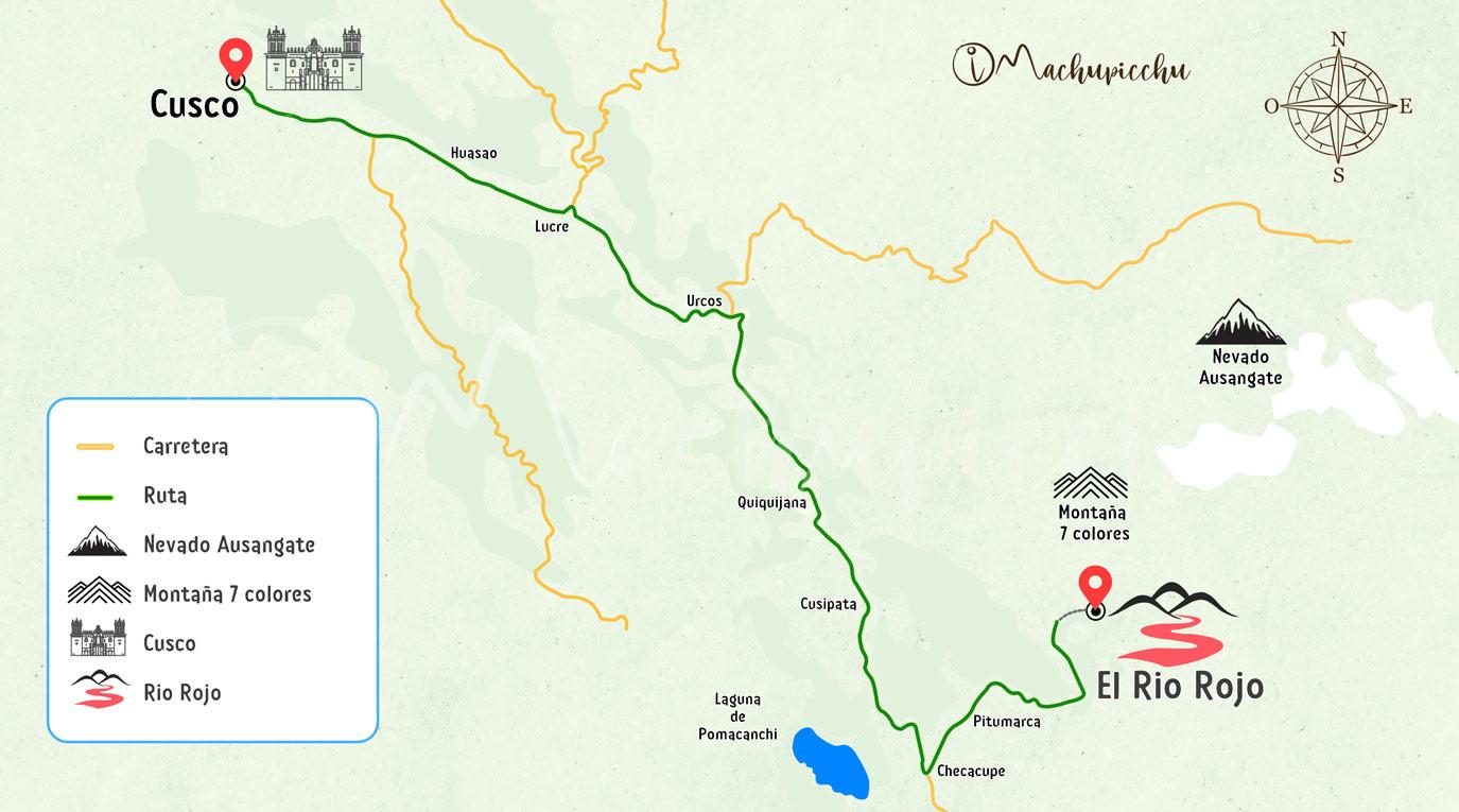 Mapa para llegar al rio rojo
