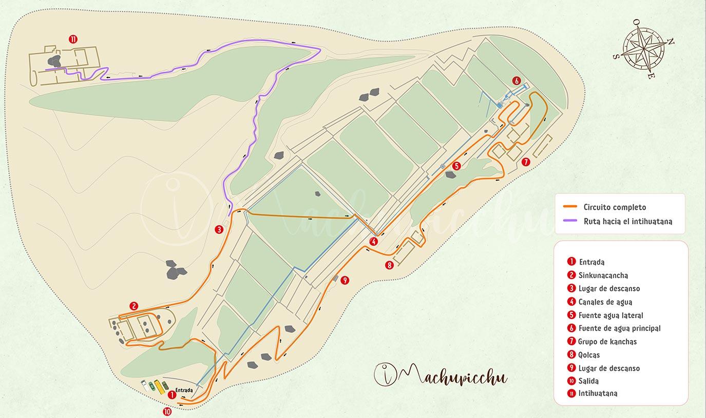 Mapa de recorrido sitio arqueológico de Tipón