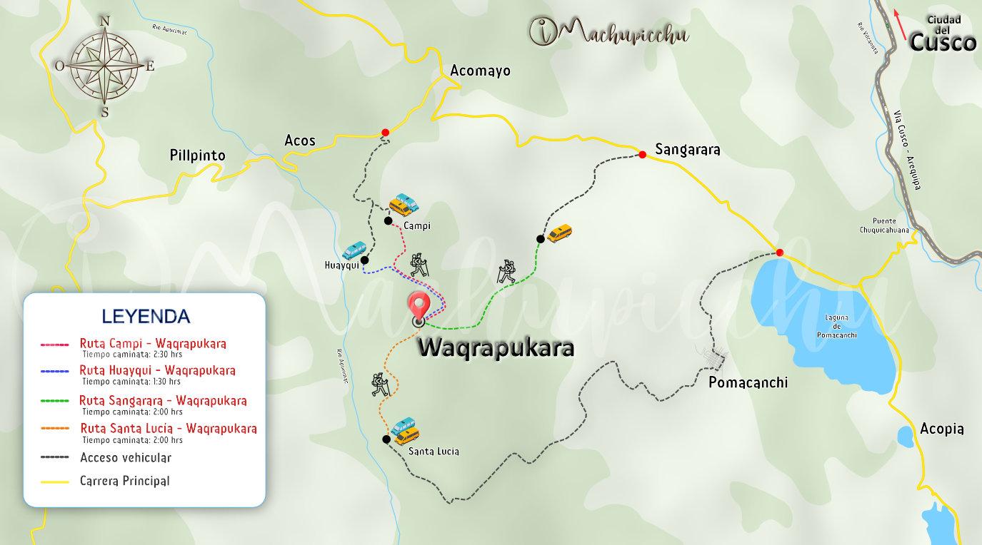 Mapa para llegar a Waqrapukara