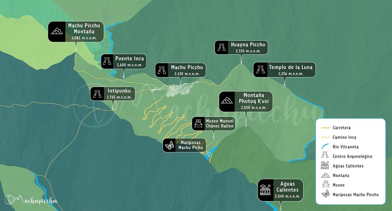 Mapa de altitudes Machu Picchu