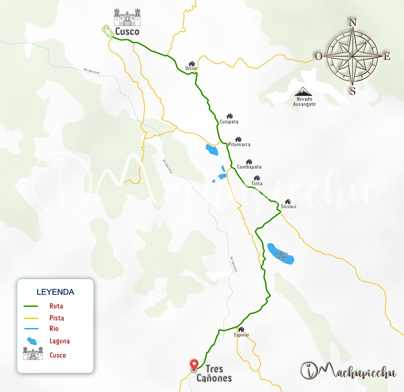 Mapa Tres Cañones Espinar