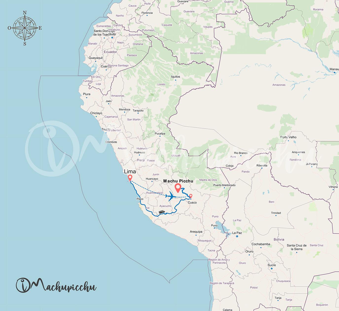 Mapa de Lima a Machu Picchu
