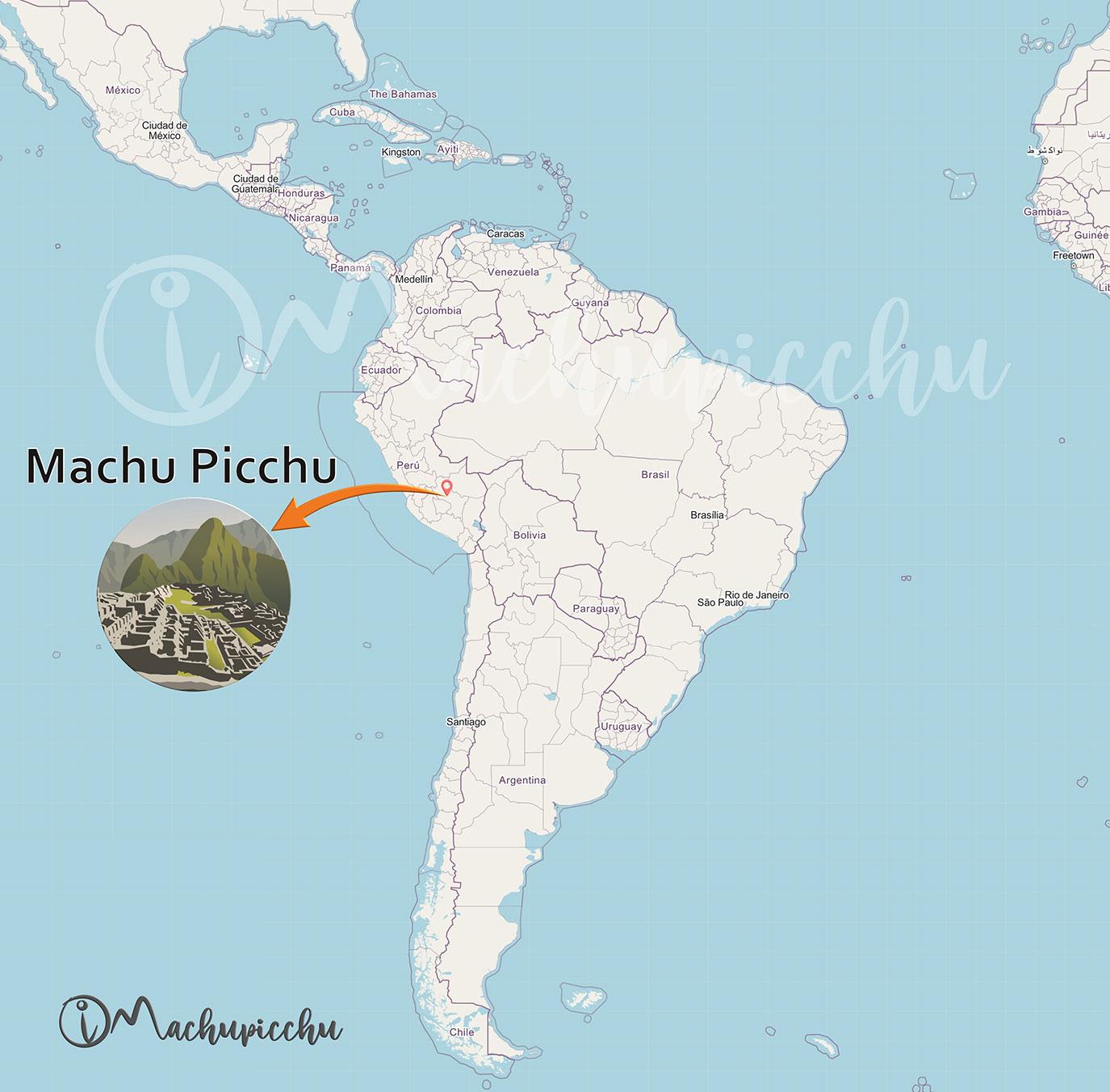Ubicación de Machu Picchu en America del Sur