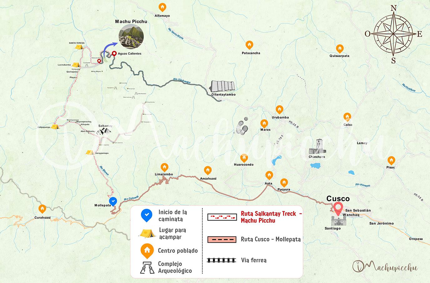Mapa del Salkantay Trek a Machu Picchu